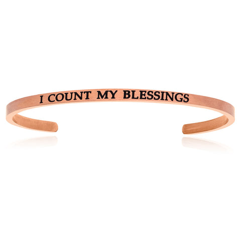 Pink Stainless Steel I Count My Blessings Cuff Bracelet