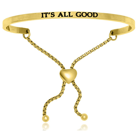 Yellow Stainless Steel It's All Good Adjustable Bracelet