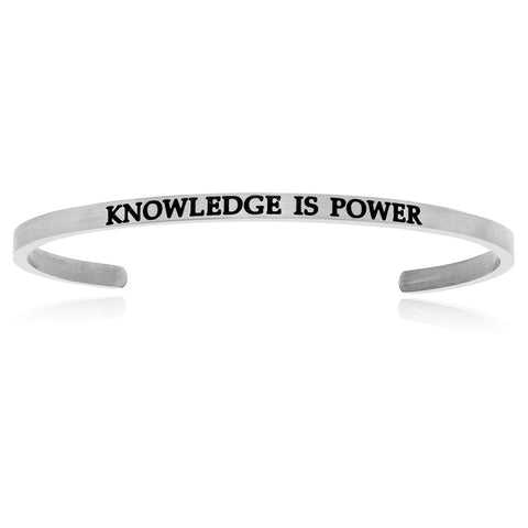 Stainless Steel Knowledge Is Power Cuff Bracelet