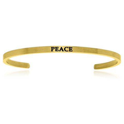 Yellow Stainless Steel Peace Cuff Bracelet