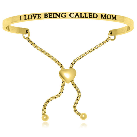 Yellow Stainless Steel I Love Being Called Mom Adjustable Bracelet