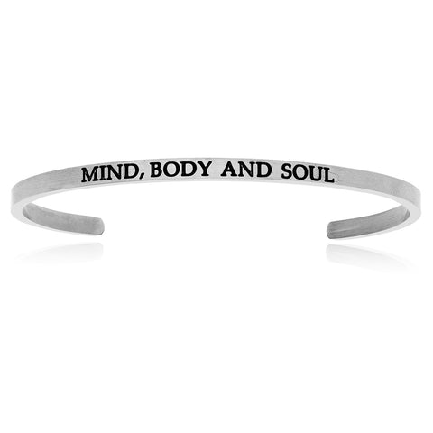 Stainless Steel Mind, Body And Soul Cuff Bracelet