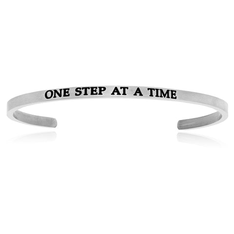 Stainless Steel One Step At A Time Cuff Bracelet