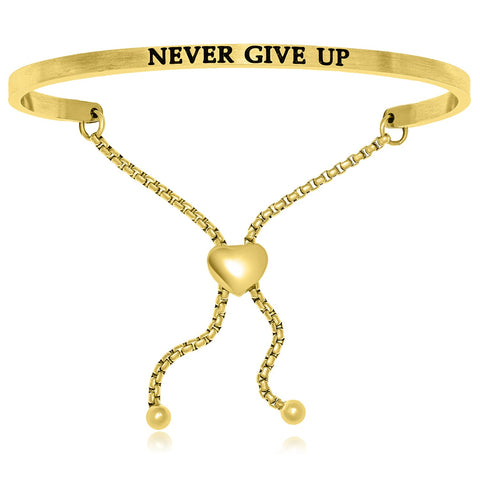 Yellow Stainless Steel Never Give Up Adjustable Bracelet