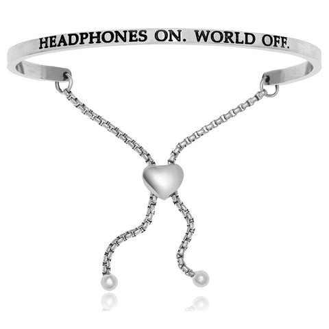 Stainless Steel Headphones On World Off Adjustable Bracelet