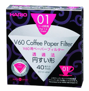 Hario V60 Filter Paper White 01 Dripper 40 pack