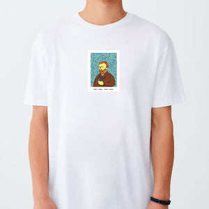 T-shirt Coffee Lyfe,Van Gogh Drinking Coffe White (unisex)