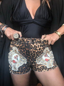 ZEN HAND-BEADED LEOPARD PRINTED SHORTS