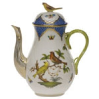 Herend Rothschild Bird Blue Border Coffee Pot