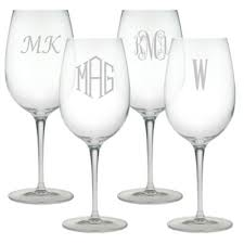 Susquehanna Glass Monogremmed White Wine Glasses (set of 4)