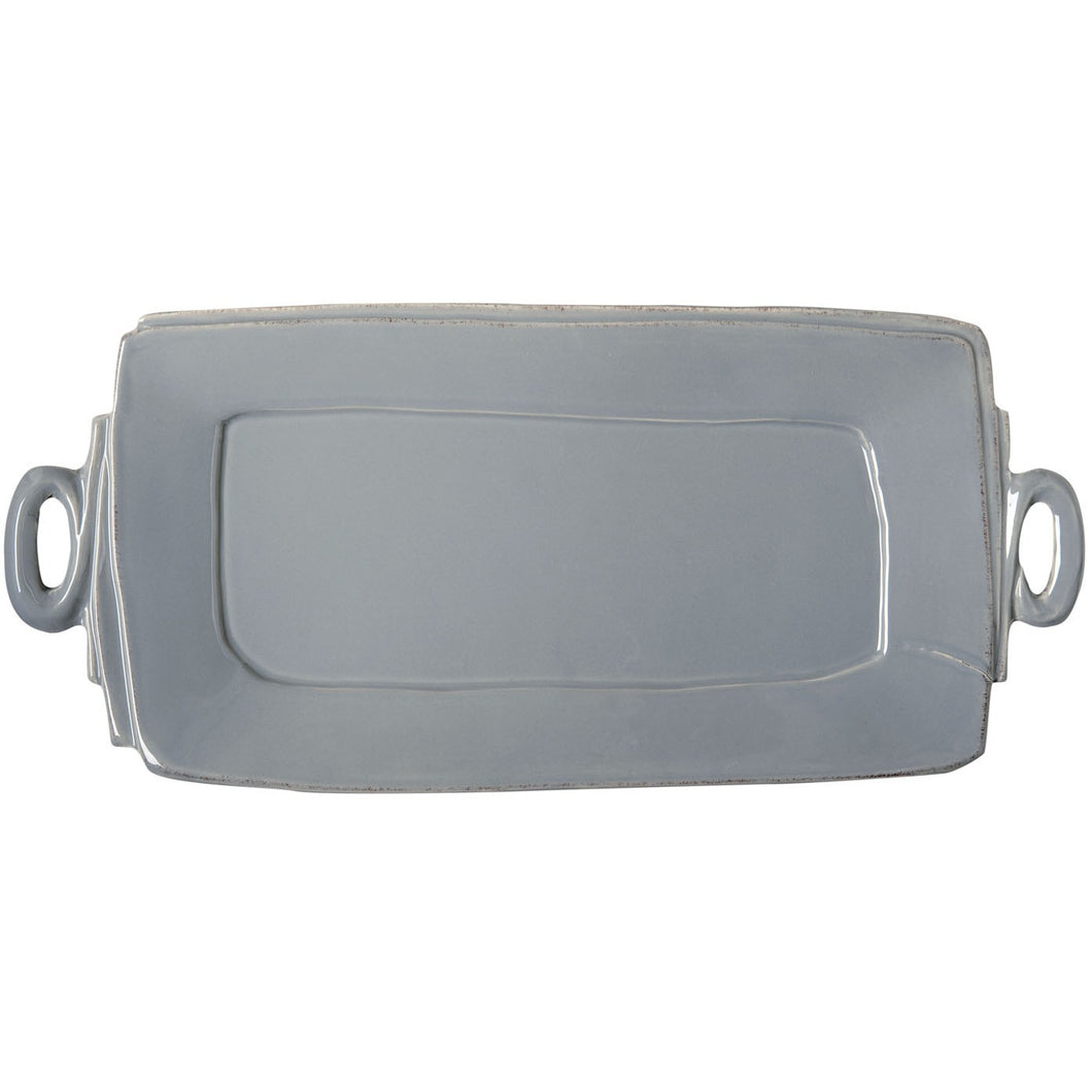 Vietri Lastra Handled Rectangular Platter in Gray