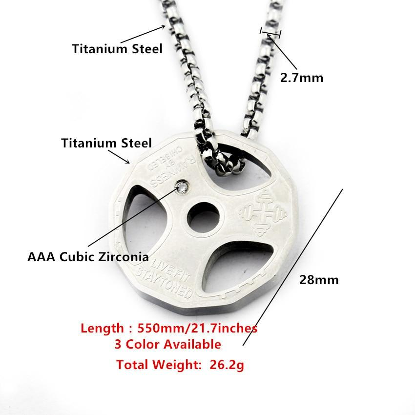 Titanium Steel Weight Plate Barbell Necklace