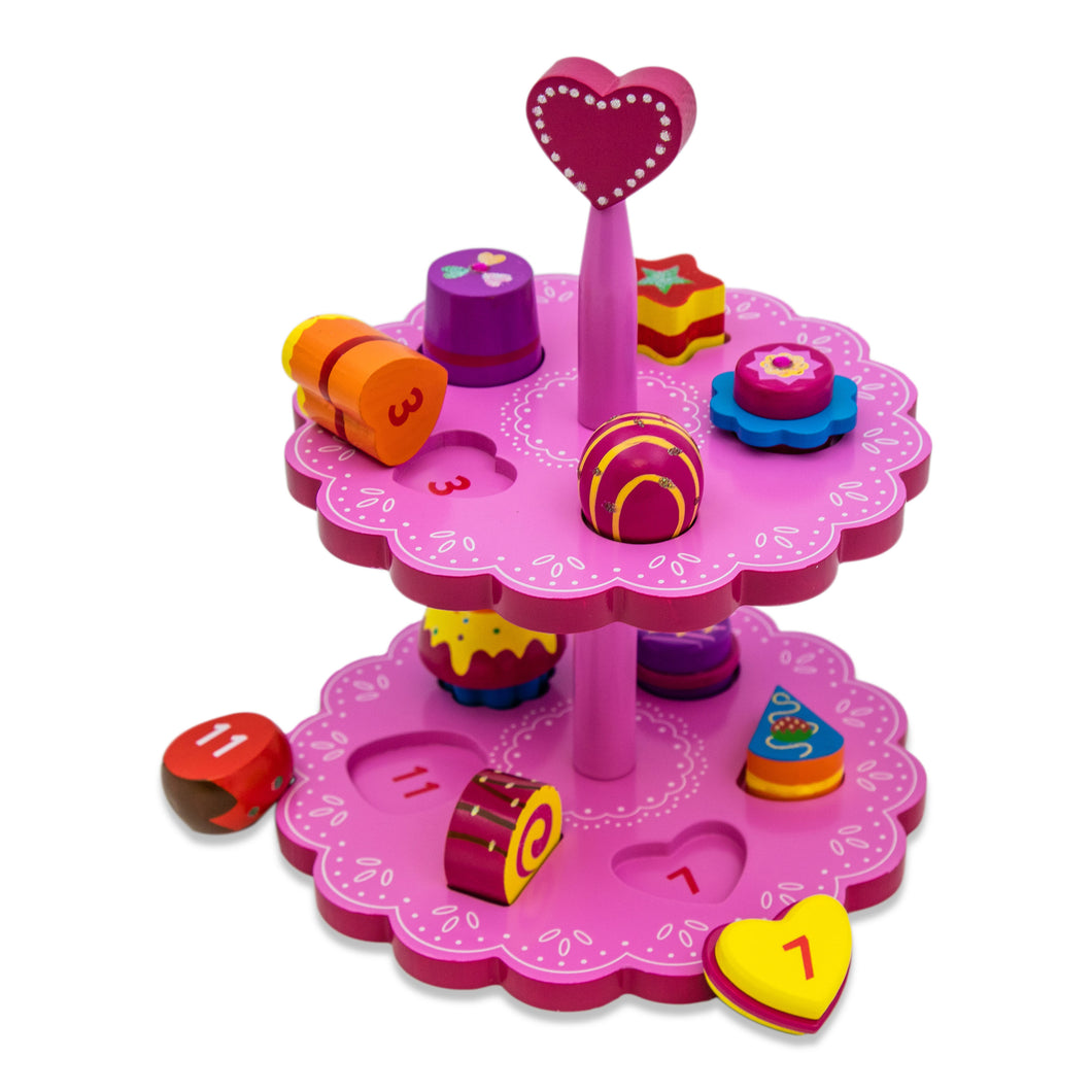 Wooden Cakes Stand and Shape Sorter Toy - Lucy Locket