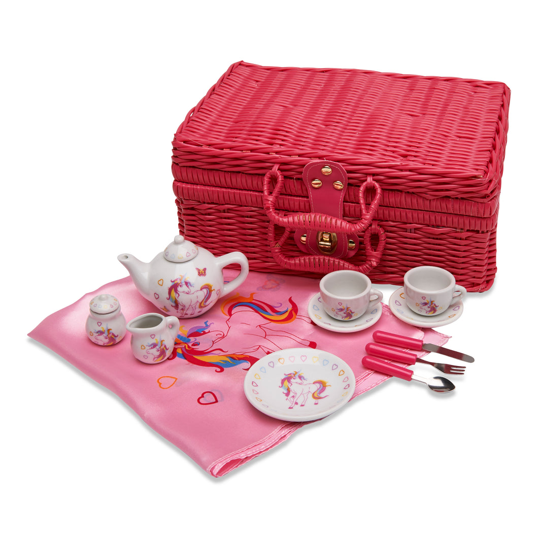 Magical Unicorn China Tea Set & Picnic Basket - Basket and Contents - Wobbly Jelly