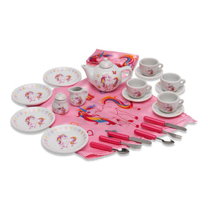 Magical Unicorn China Tea Set & Picnic Basket - Full Contents - Wobbly Jelly