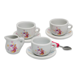Magical Unicorn China Tea Set & Picnic Basket - Cups and Saucers - Wobbly Jelly