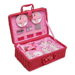 Magical Unicorn China Tea Set & Picnic Basket - Open Basket - Wobbly Jelly