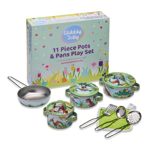 'Stomping Dinosaur' Pots and Pans Kitchen Set - With Packaging - Wobbly Jelly