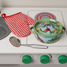 'Stomping Dinosaur' Pots and Pans Kitchen Set - Size Guide - Wobbly Jelly