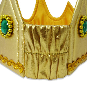 Gold Jewel King Fancy Dress Crown - Back Stretchy Panel - Slimy Toad