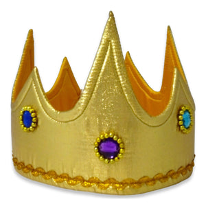 Gold Jewel King Fancy Dress Crown - Front - Slimy Toad