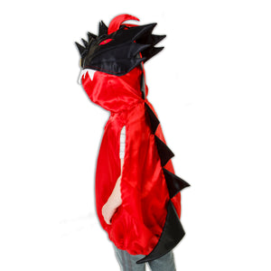 Red & Black Dragon Fancy Dress Costume - Back - Slimy Toad