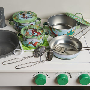 'Stomping Dinosaur' Pots and Pans Kitchen Set - Ready for Play - Wobbly Jelly