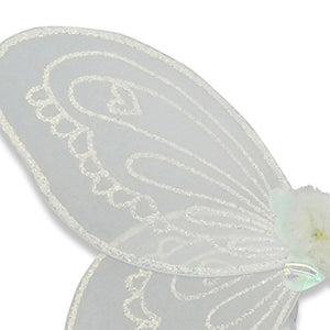 White Sparkly Angel Wings & Wand Set - Detail - Lucy Locket