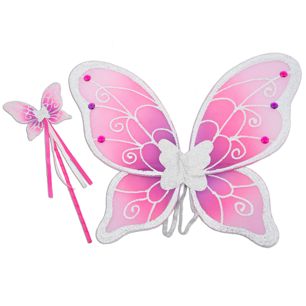 Glitter & Jewel Fairy Wings & Wand Set - Pink & Silver - Lucy Locket