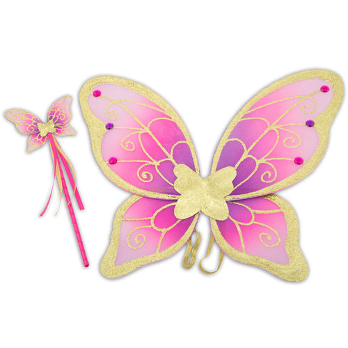 Glitter & Jewel Fairy Wings & Wand Set - Pink & Gold - Lucy Locket