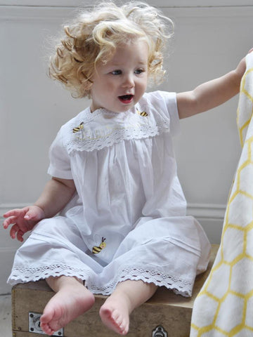 White Cotton Girls Nightdress - Betty Bumble Bee