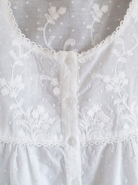 Blondy - Pure White Cotton Ladies Short Sleeve Nightdress