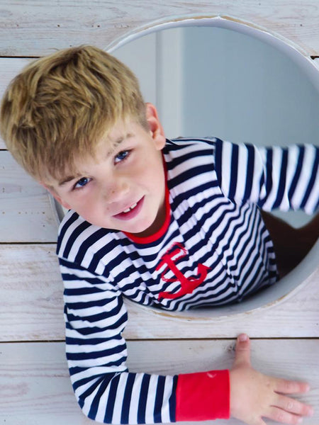 Blue Striped - Pure Cotton Boys Pyjamas