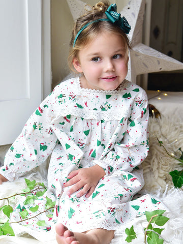 Christmas Girls Nightdress - Pure White Cotton
