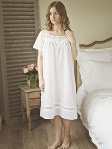 Dot and Lace - Pure White Cotton Ladies Nightdress