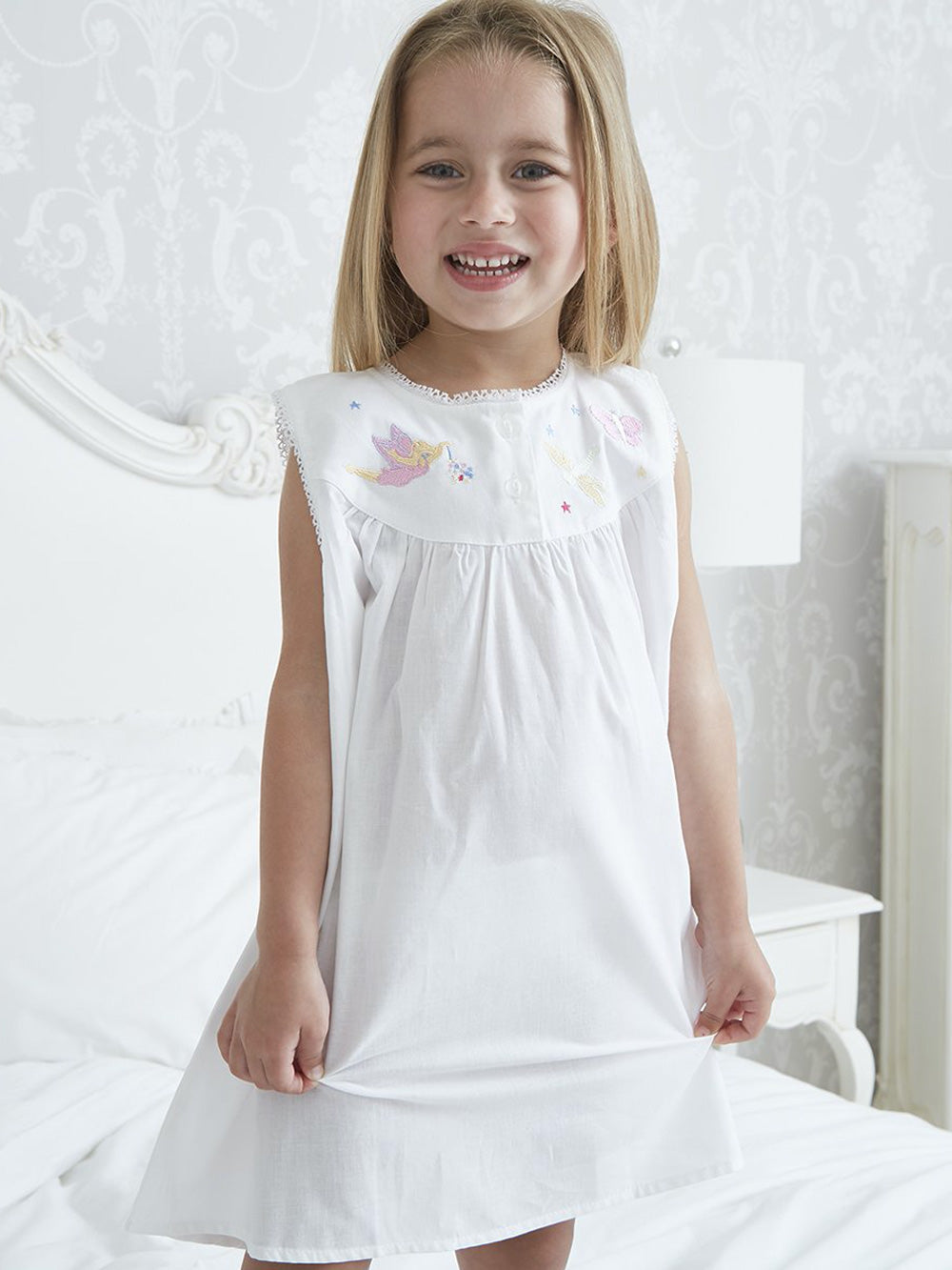 White Cotton Girls Nightdress