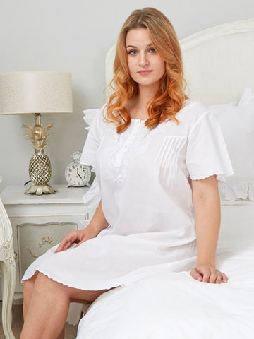 White Cotton Short Sleeve Ladies Nightdress