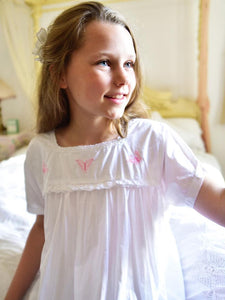 Flora - Girls White Cotton Nightdress