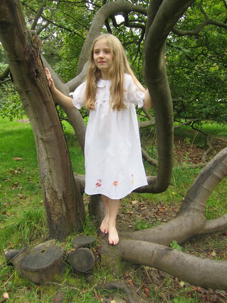 Girls White Cotton Nightdress - Gingerbread