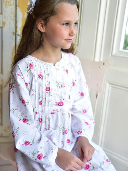Floral White Cotton Girls Nightdress