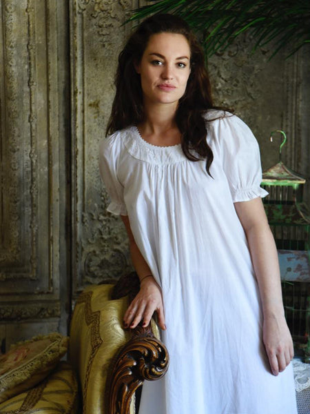 White Cotton Short Sleeve Nightdress
