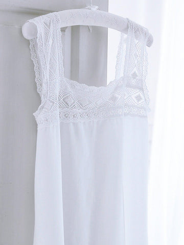 Lace Chemise- Pure Cotton- Ladies  Nightdress - Classic Cotton