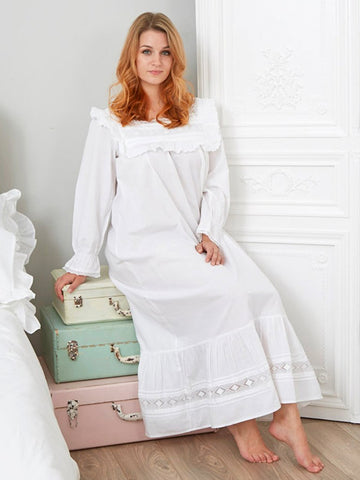 Lace Trim - Pure Cotton Ladies Nightdress