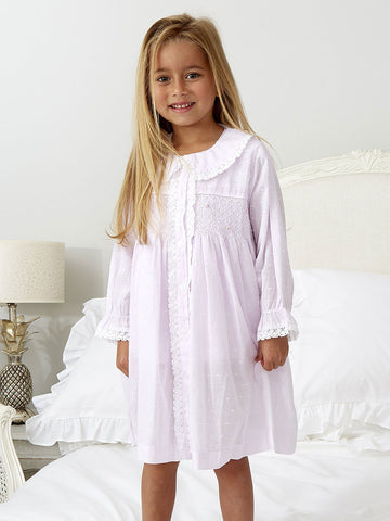 New - Pink/Lilac Smocked Girls Dressing Gown