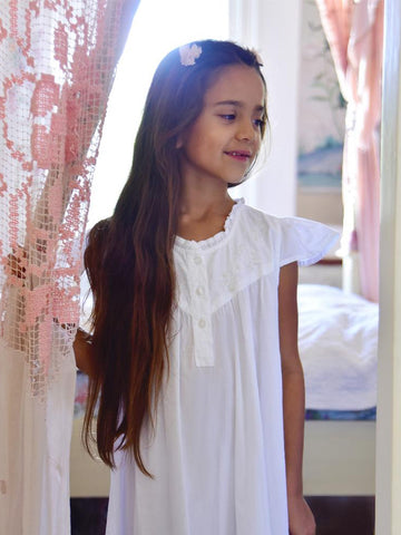 Embroidered Girls Cotton Nightdress