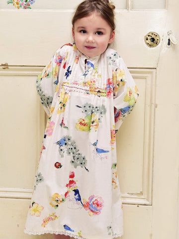 Long Sleeved Girls Nightdress - Olive Secret Garden