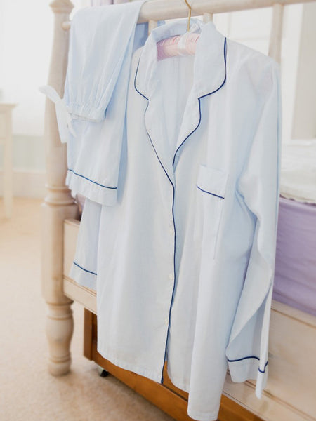 Pale Blue - Classic 100% Cotton Ladies Pyjamas