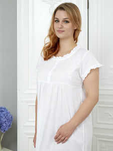Pearl - Pure White Cotton - Ladies Nightdress - Classic Cotton