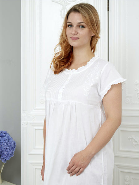 New- Pearl - Pure White Cotton - Ladies Nightdress - Classic Cotton
