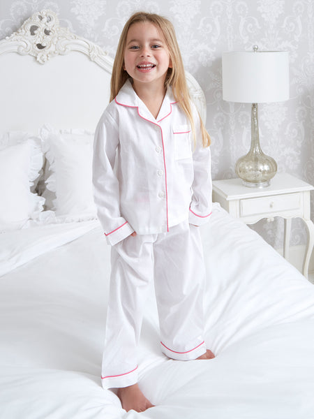 New - Pink Piping - Girls - Cotton Pyjamas - Classic Cotton